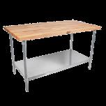 "John Boos & Co JNS10 Maple Table 1-1/2"" Thick, 30"" X 60"" W/Shelf JOHB-JNS-10"