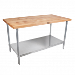 "John Boos & Co JNS11 Maple Table 1-1/2"" Thick, 30"" X 72"" W/Shelf JOHB-JNS-11"