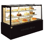 "Kingdom ZW-C-182F-BBS Bakery Showcase 5' 3-Tier, 59.06"", Black Brush S/S Finish"
