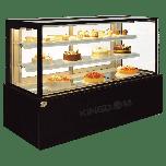 "Kingdom ZW-C-223F-BBS Bakery Showcase 6' 3-Tier, 70.87"", Black Brush S/S Finish"